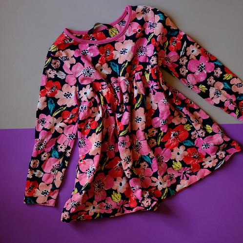 Růžové šaty s květy 3-4y