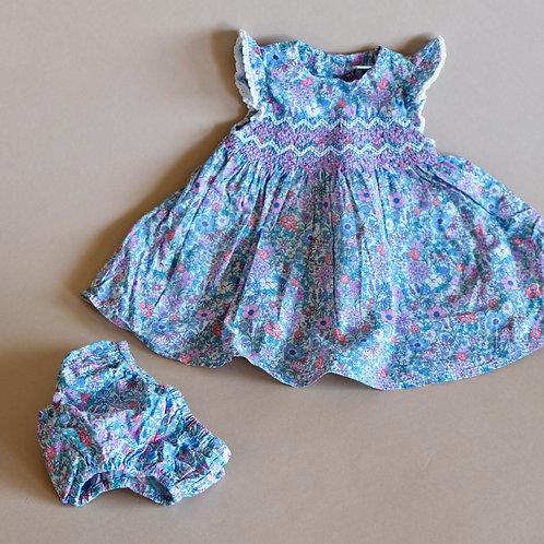 Kytičkované šaty s kalhotkami 0-3m