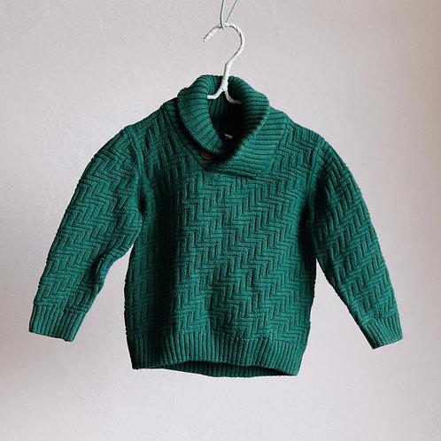 Zelený svetr s knoflíkem 12-18m