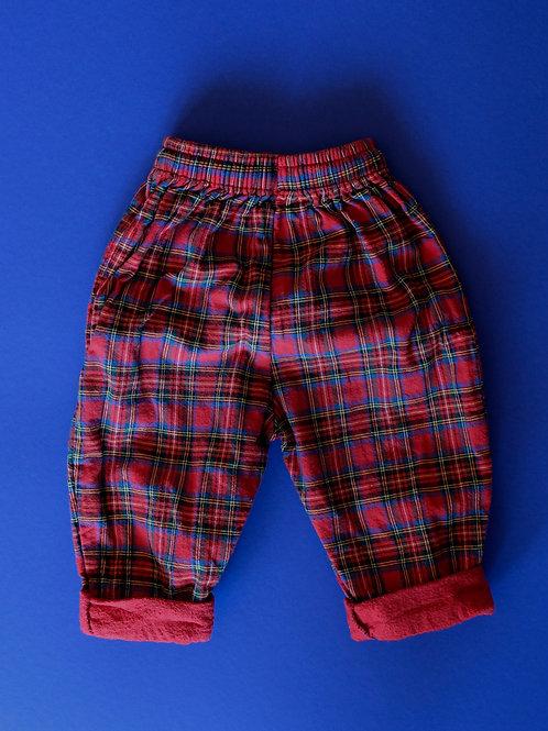 Kárované kalhoty - 6-12m