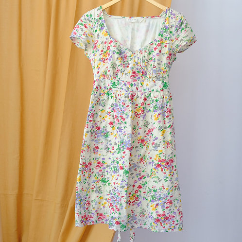 Krémové šaty s květinami S