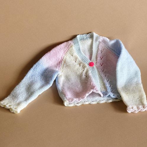 Propínací svetr s pastelovými barvami 6-12m