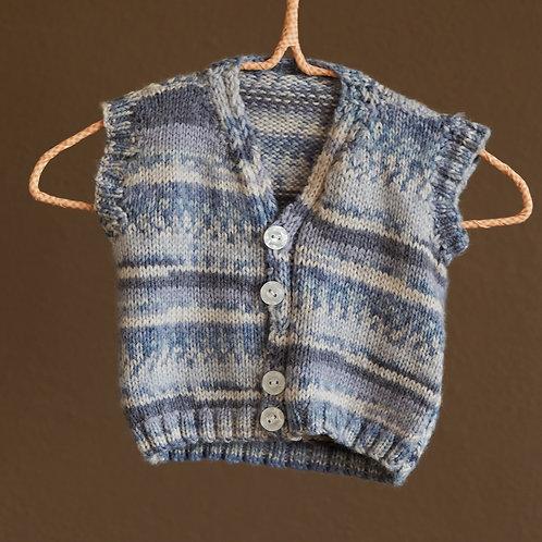 Ručně pletená žíhaná vesta 6-18m