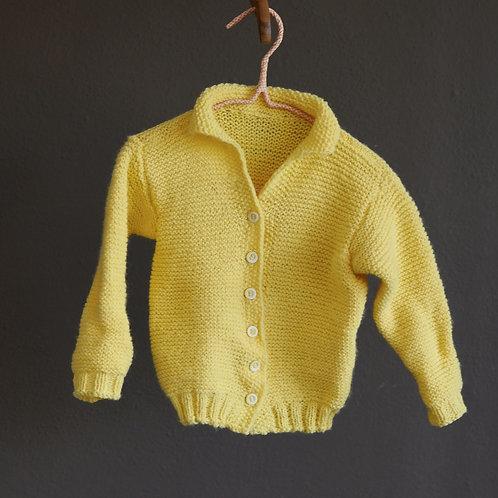 Žlutý ručně pletený kardigan - 2-4y