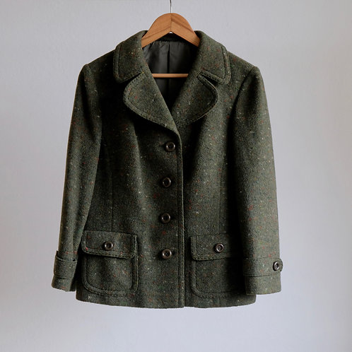 Tmavozelený žíhaný kabátek - M