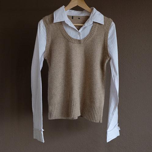 Košile s všitou vlněnou vestou M/L