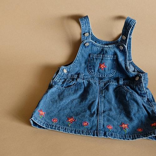 Džínové laclové šaty s květinami 18-24m