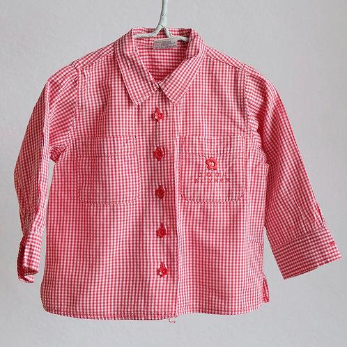 Kostičkovaná košile s kytičkovanými knoflíky 1,5-2,5y