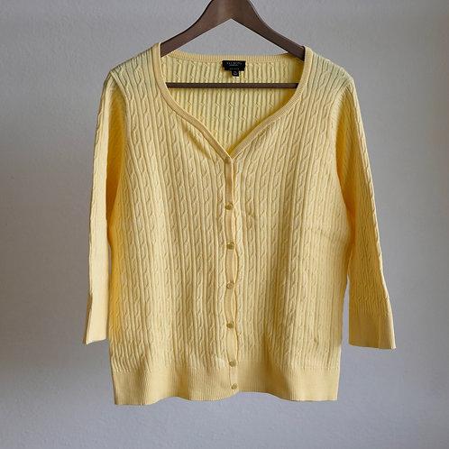 Žlutý kardigan se zajímavým výstřihem - XL