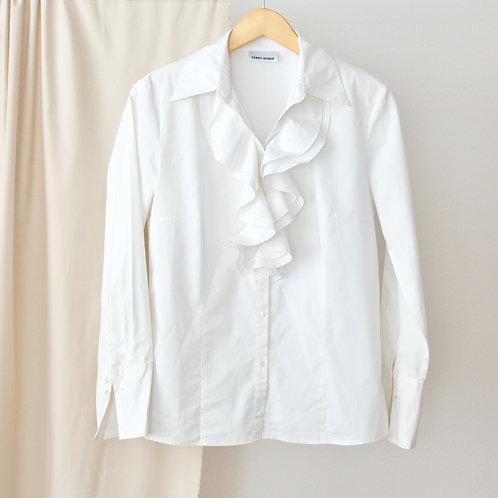 Bílá košile s volánky - M