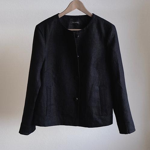 Lněné černé sako - L
