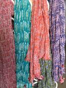 Crinkle silk/cotton blend scarfs