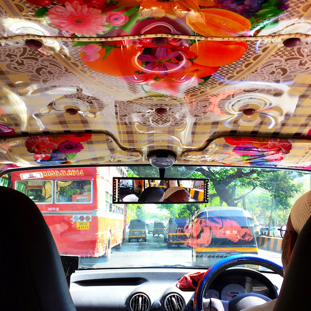 My ride!  Bombay taxi style