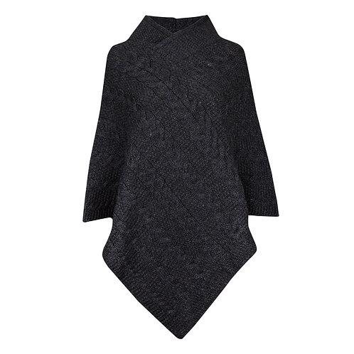 V-neck Poncho, 100% British Wool