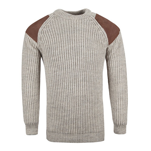 Countryman patch Crew Neck Jumper, 100% British wool.