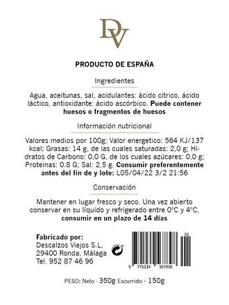 Back of olive label
