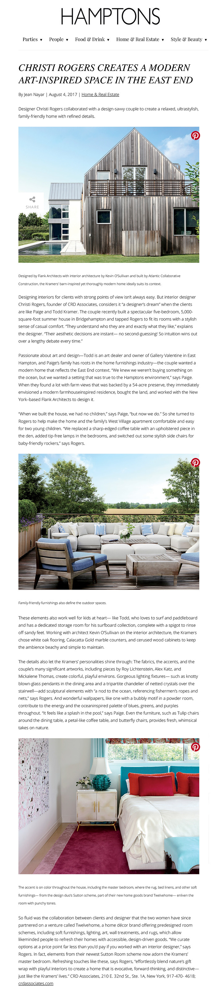 Christi Rogers CRD Associates Hamptons Magazine Arty Summer Retreat Bridgehampton Interior Design