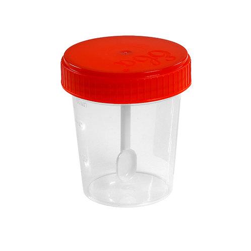 Контейнер для биопроб 60 мл, со шпателем, в индивидуальной упаковке, стерильный