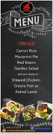 Lunch Menu - Creole Catering - Carrot Rice, Macaroni Pie, Red Beans, Garden Salad, Stewed Chicken, Creole Fish, Baked Lamb