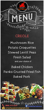 Lunch Menu - Creole Catering - Mushroom Rice, Potato Croquettes, Stewed Lentil Peas, Fresh Salad, Baked Chicken, Panko Crusted Fried Fish, Baked Pork