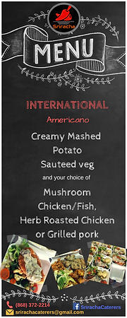 Lunch Menu - Americano - Creamy Mashed Potato, Sauteed Vegetables, Mushroom Chicken, Fish, Herb Roasted Chicken, Griled Pork
