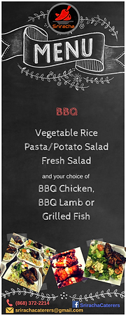 Lunch Menu - BBQ - Vegetable Rice, Potato/Pasta Salad, Fresh Salad, BBQ Chicken, Lamb or Grilled Fish