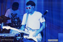 onstage with my Fender Strat