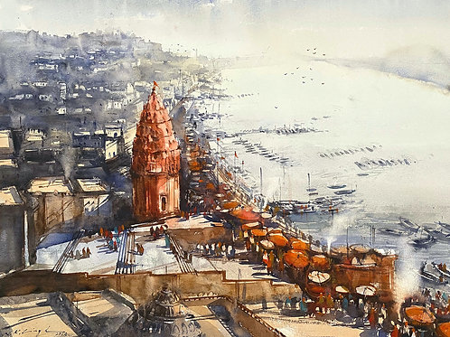 Banaras ghat watercolour prints