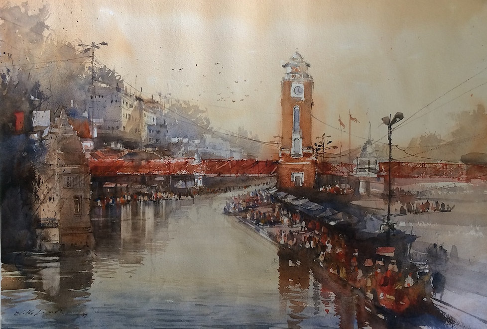 Buy art online water painting of indian temple and ghats. This original watercolor art has been inspired from divine town of Haridwar ghat. Browse through more water paintings of Nitin Singh online watercolor art gallery to buy some of his best watercolor paintings for sale.