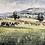 Thumbnail: Watercolour landscape green field art for sale
