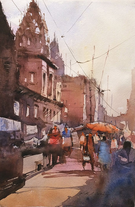water painting of Banaras ghat