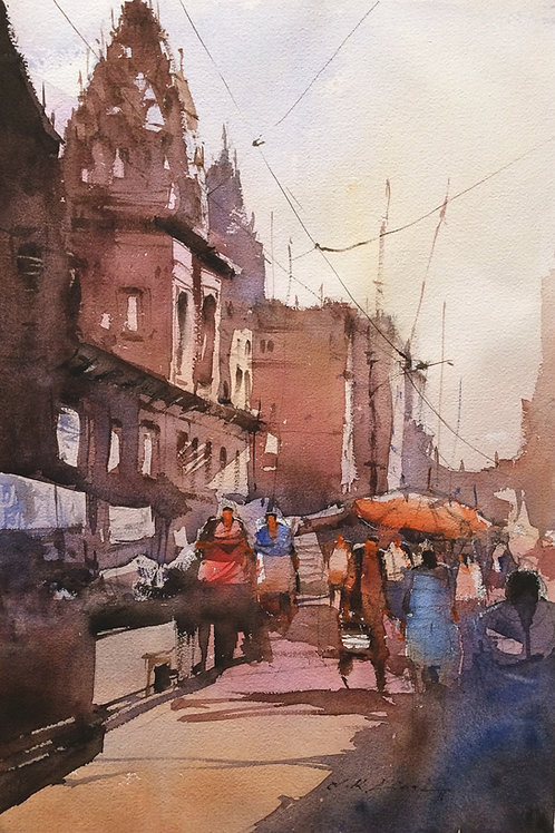Varanasi Ghat original watercolor painting for sale