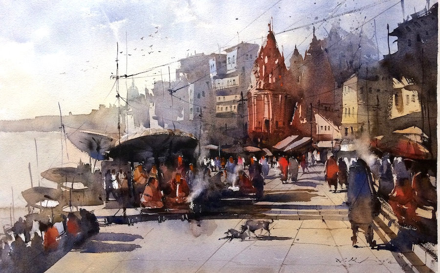 water painting of banaras ghat is always facinating me to paint this divine town.