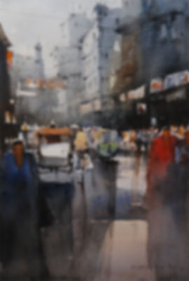 watercolor art of indian busy street