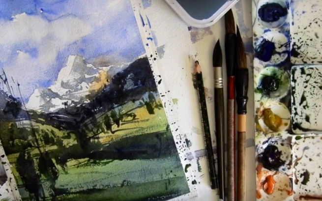 Learn how to paint beautiful watercolor landscape and mountains.