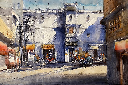 Street of Udaipur watercolour art