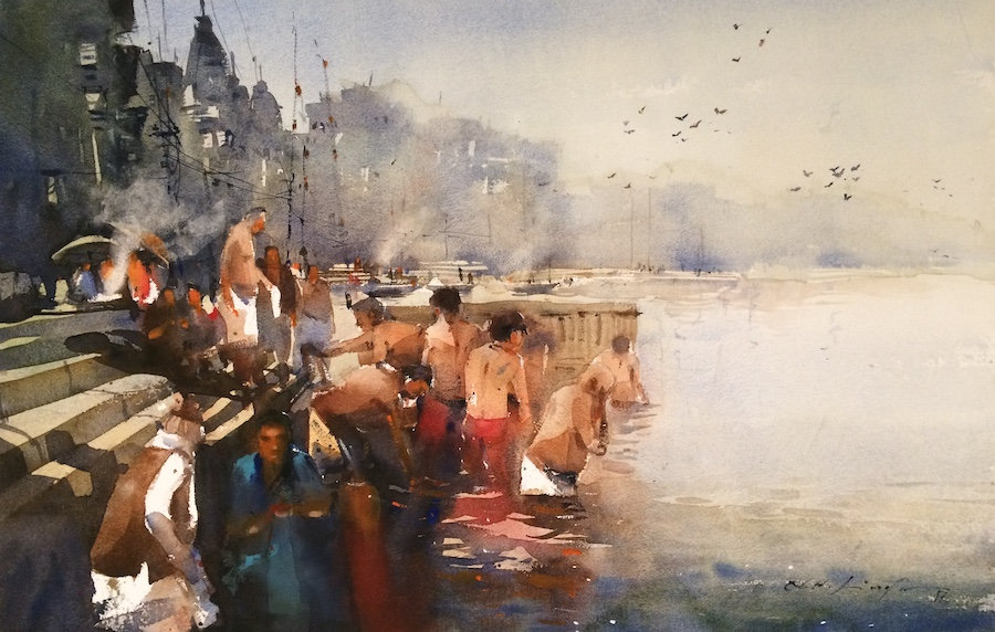 Banaras ghat art for sale online from india's leading watercolour artist Nitin Singh. This water painting of varanasi ghat inspired from spritual town of Banaras which has significantly inspired artist to paint this watercolour art series. Art collector can buy his art collection from his online art gallery, many of his original watercolour painting is for sale.