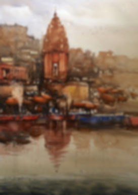 This watercolor art is inspired by spritual town Banaras prayag ghat. The purity of ganges and floting spritual energy of this place captured in this watercolor artwork. Watercolor artist Nitin Singh tried to justify the values of this place through his series of varanasi watercolor art. Art lover can buy his art art online, his original watercolor paintings available for sale.