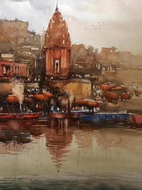 Varanasi Ghat watercolour art for sale