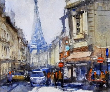Online watercolour course for beginners to paint Paris street. A fun filled watercolor process gives you exciting learning