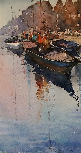 varanasi ghat watercolor painting from emerging indian watercolour artist Nitin Singh. Buy watercolor paintings online from his latest watercolour collection artworks. Nitin Singh original painting for sale.