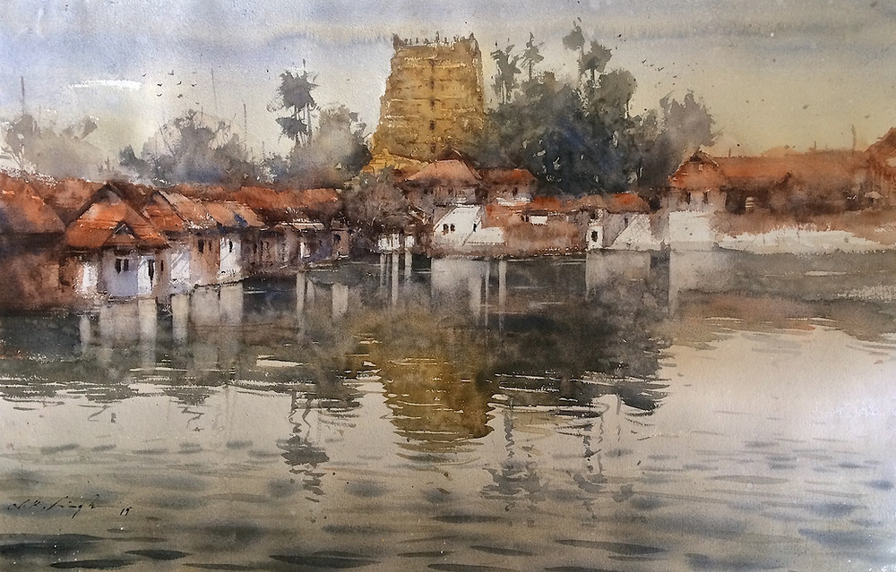 Original watercolor paintings for sale indian temple