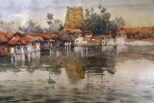 Padmanabhaswamy temple watercolour painting for sale