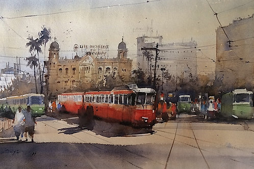 Kolkota cityscape watercolour painting for sale
