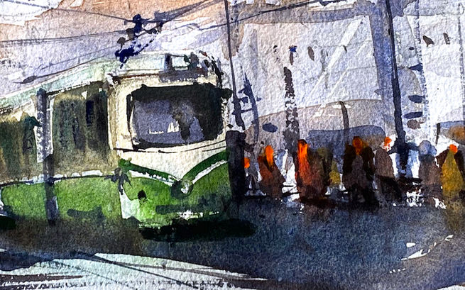 In this watercolor lesson you will learn how to paint watercolor city street, tram and random watercolor human figures.