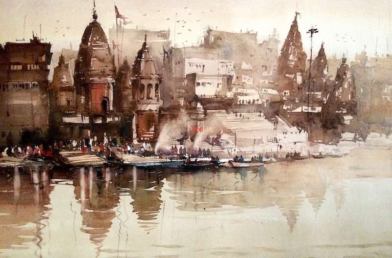 watercolour art banaras ghat