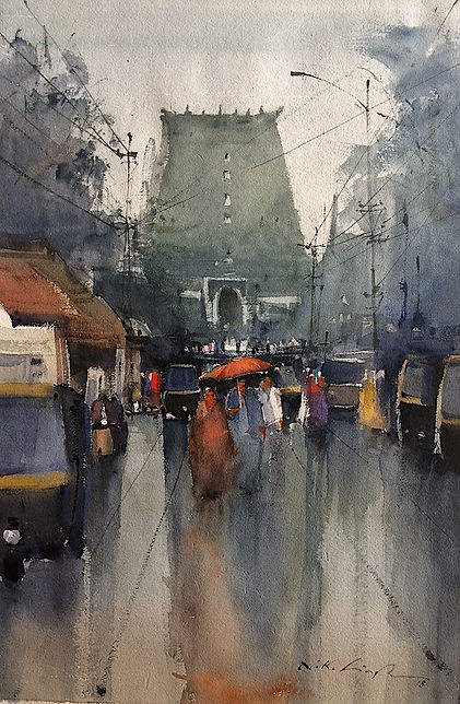 This painting watercolor of kerala temple is inspired by padmanabhaswamy temple in kerala. This watercolor art for sale.