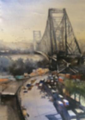 watercolor artwork of Howrah bridge kolkota