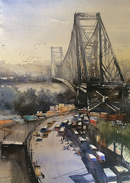 watercolor artwork of Howrah bridge kolkota