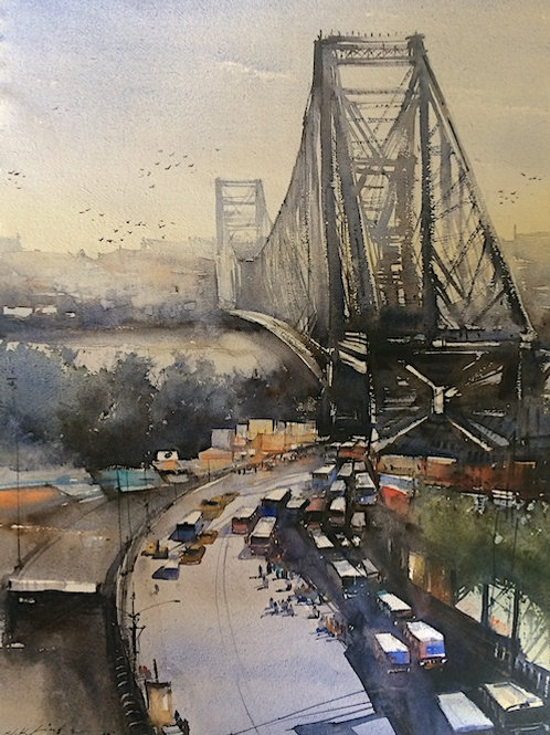 Howrah Bridge, Kolkota watercolor art for sale